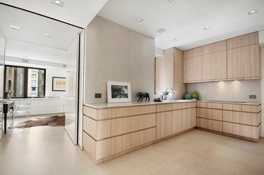 Modern design beige kitchen interior