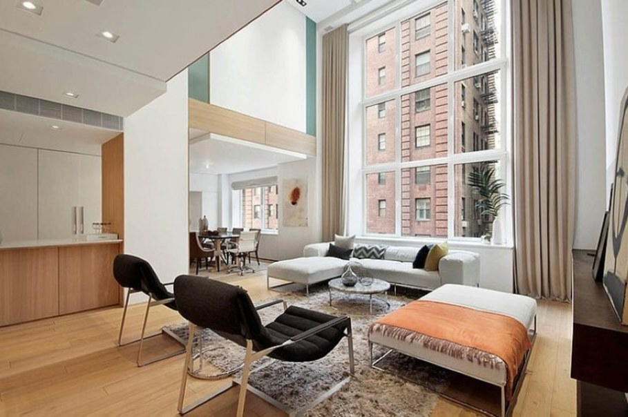 Modern duplex apartment in New York - living room and dining room