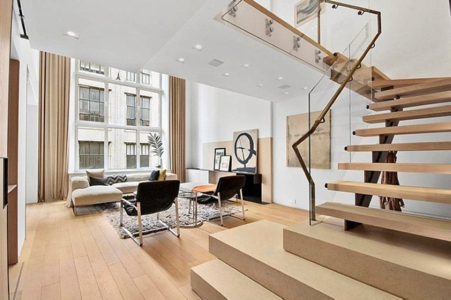 modern duplex apartment in new york living room and staircase to the