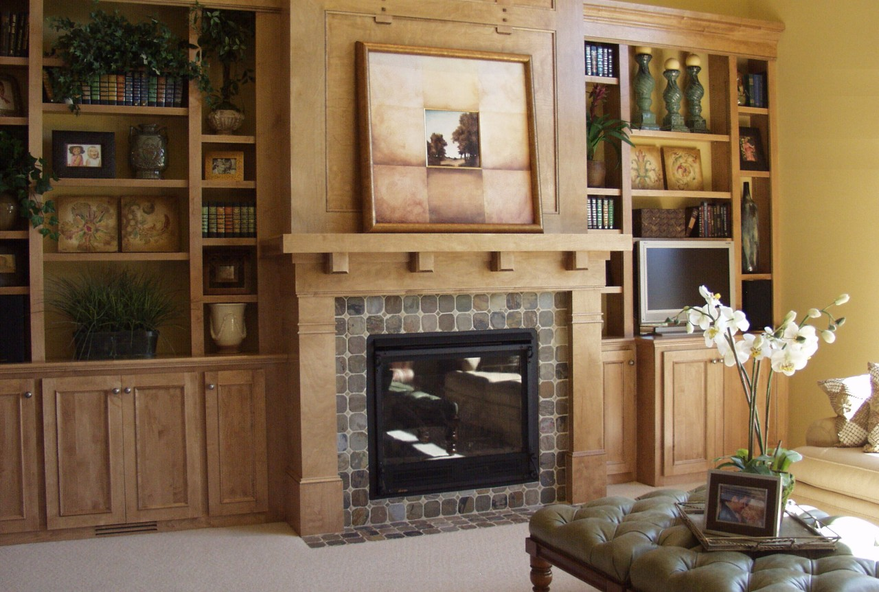 Amazing photo of  decorate the zone around the fireplace Complete niches and shelves with #8F713C color and 1280x862 pixels