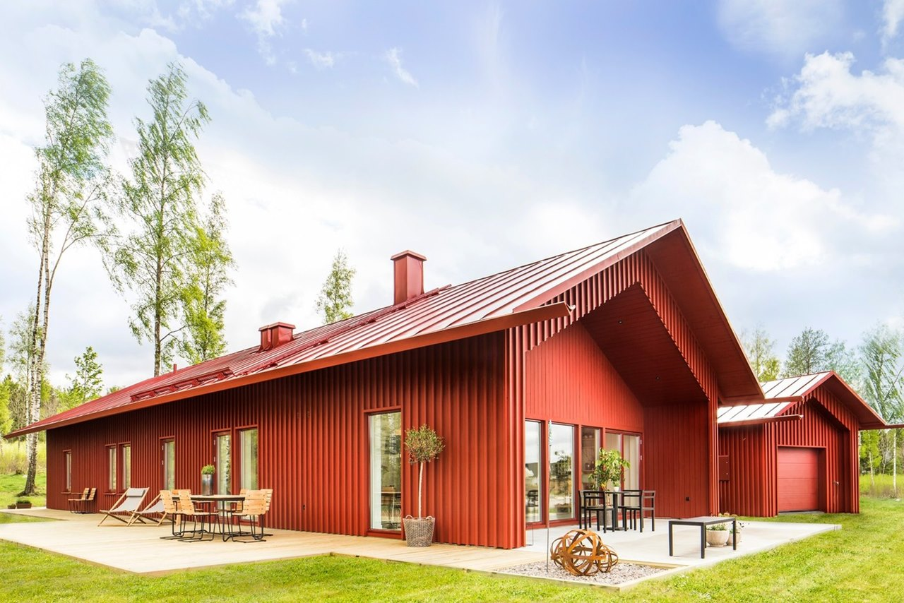 Red house in swedish style for Swedish home design