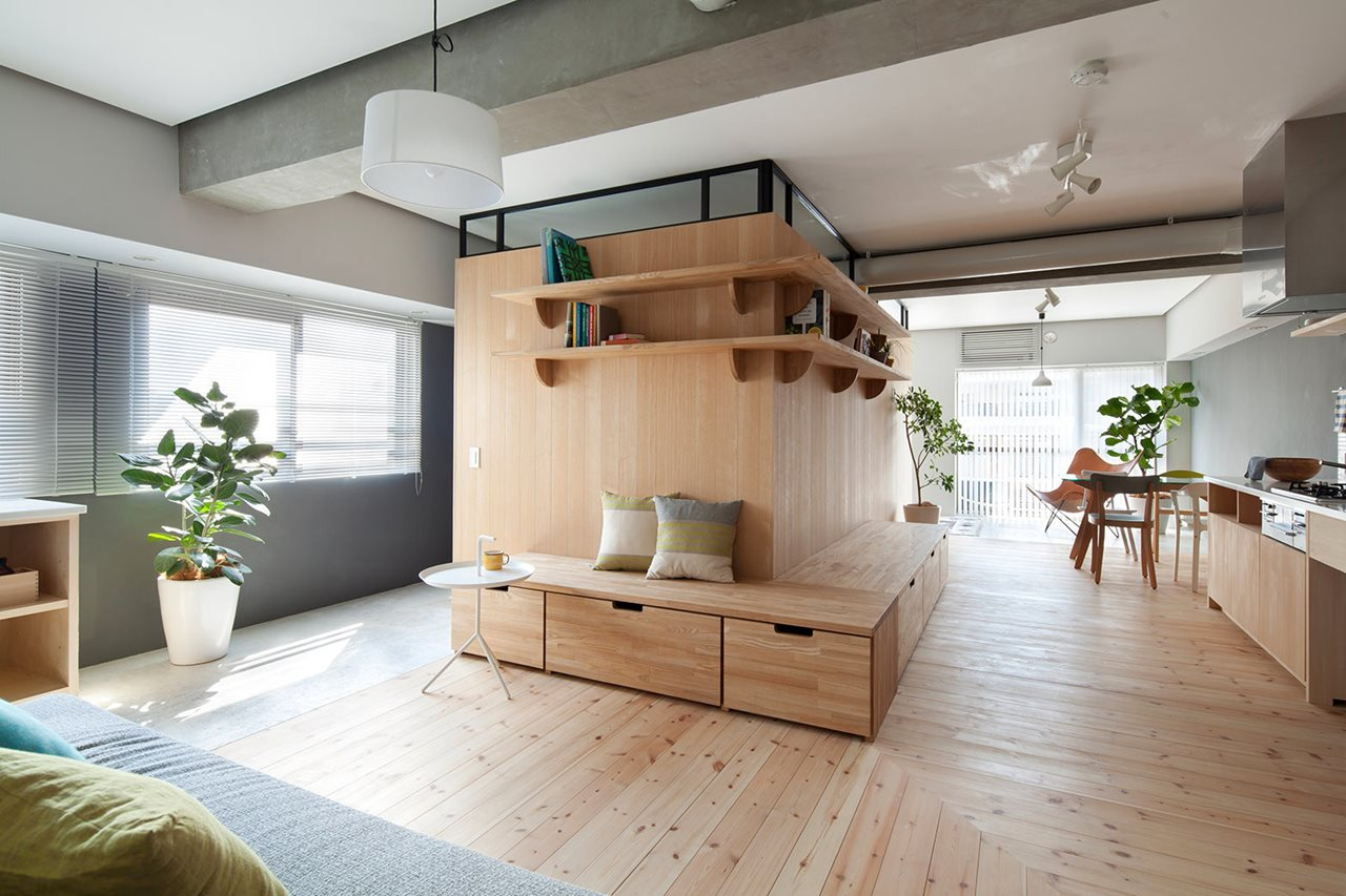 The apartment renovation from a sinato studio in yokohama for Apartment renovation plans