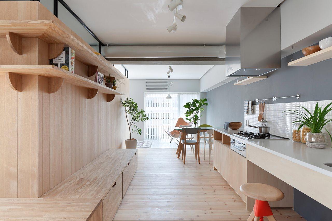 The apartment renovation from a sinato studio in yokohama for Apartment renovation ideas