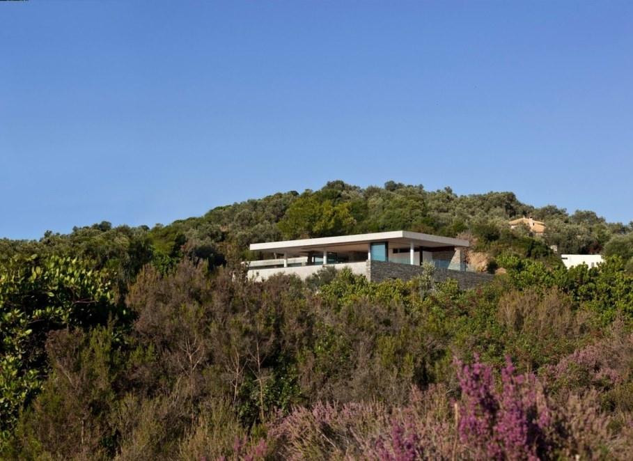 The shining Plane House residence on the Greek island