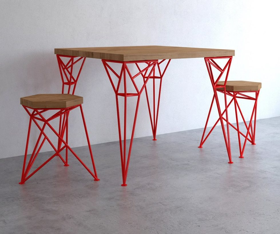 Uniquely Furniture Collection Apollo Table And Spike Tabouret - Red