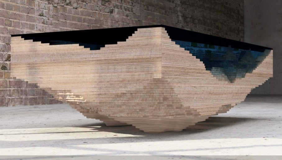 Abyss table by Duffy London in the form of a 3D map of the sea 4