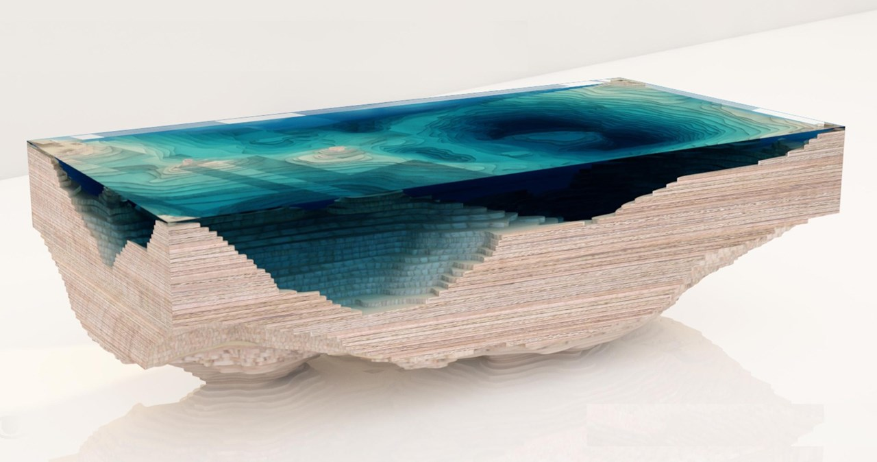 Abyss Table by Duffy London in the form of a 3D map of the sea