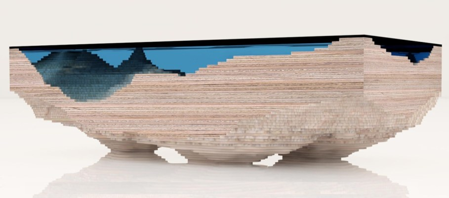 Abyss table by Duffy London in the form of a 3D map of the sea 6