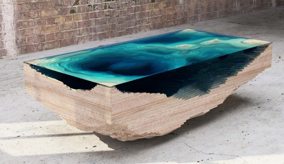 Abyss table by Duffy London in the form of a 3D map of the sea 7