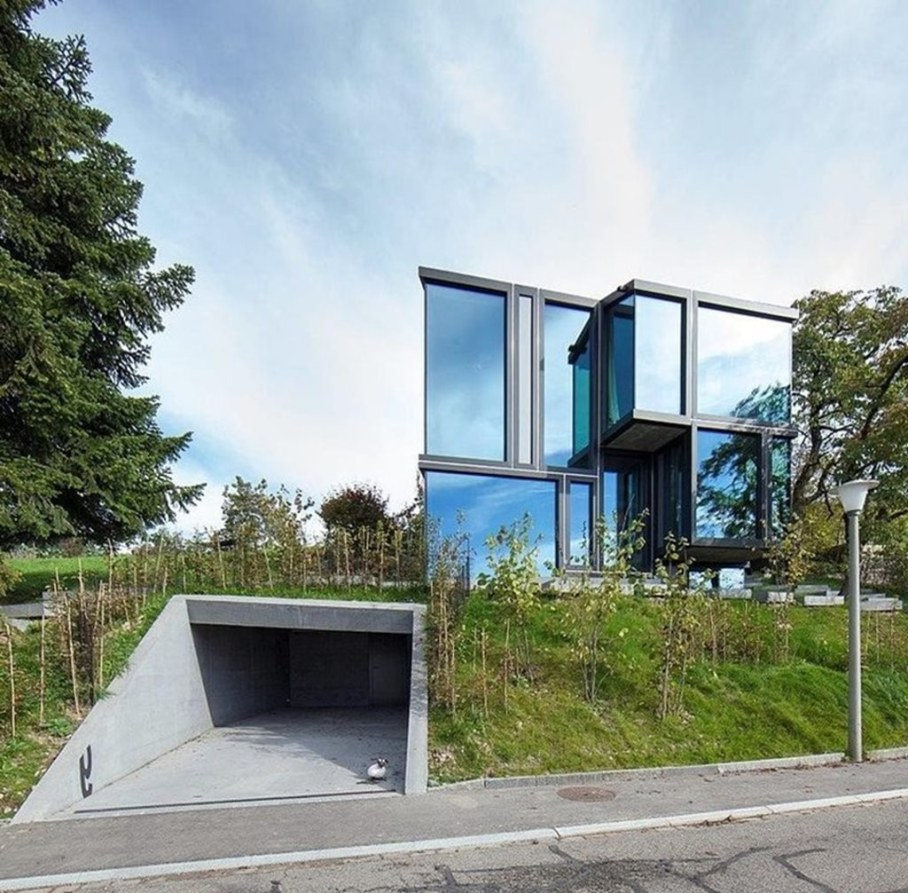 Design country house of glass and concrete 5