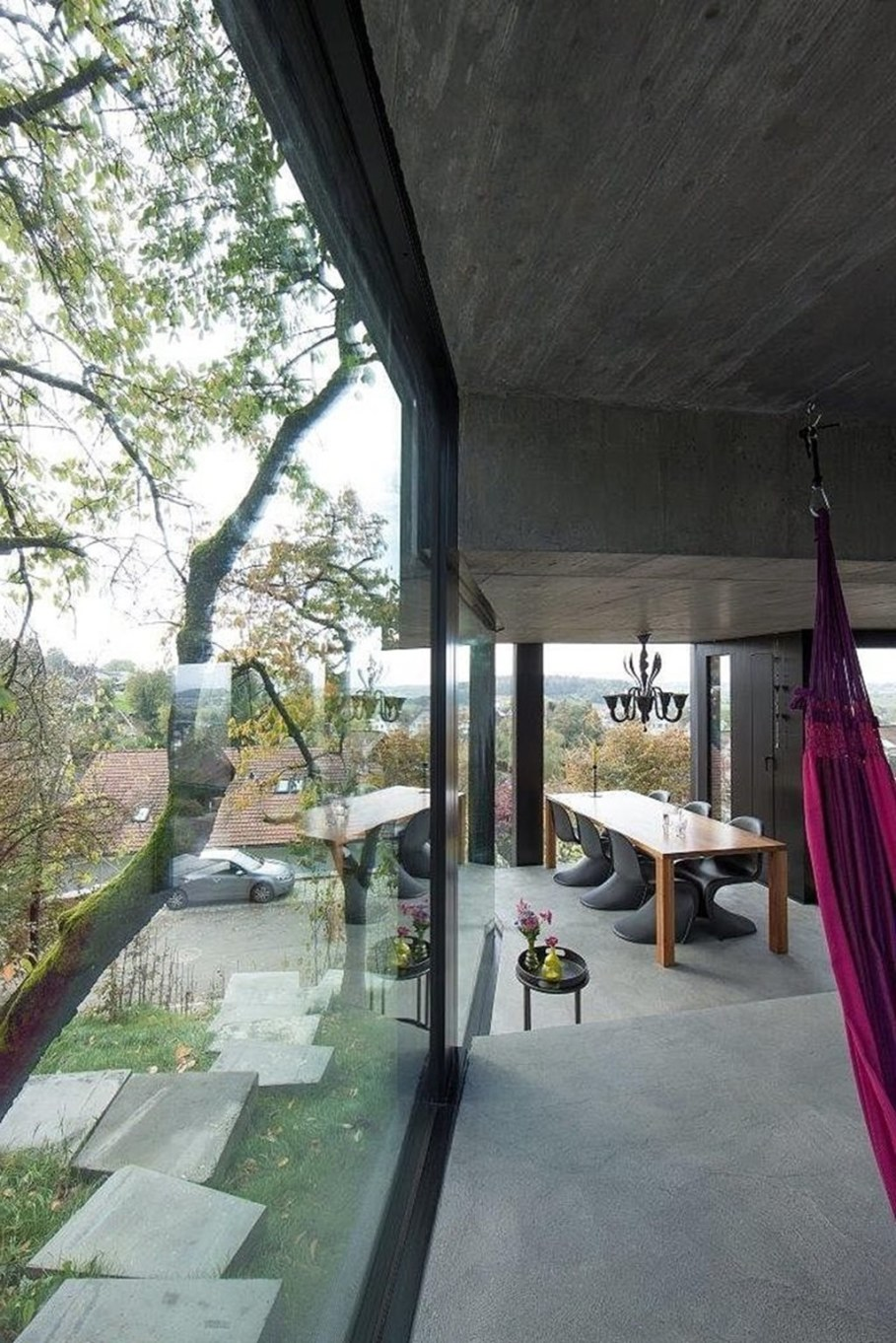 Design country house of glass and concrete 7