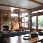 Design of a country house in a mixed style with elements of retro and industrial styles