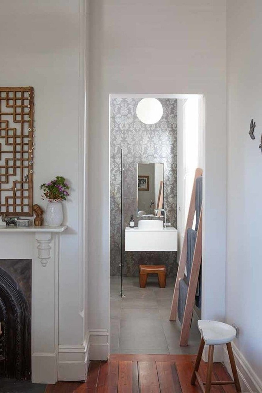 Design of a country house in a mixed style - small bathroom