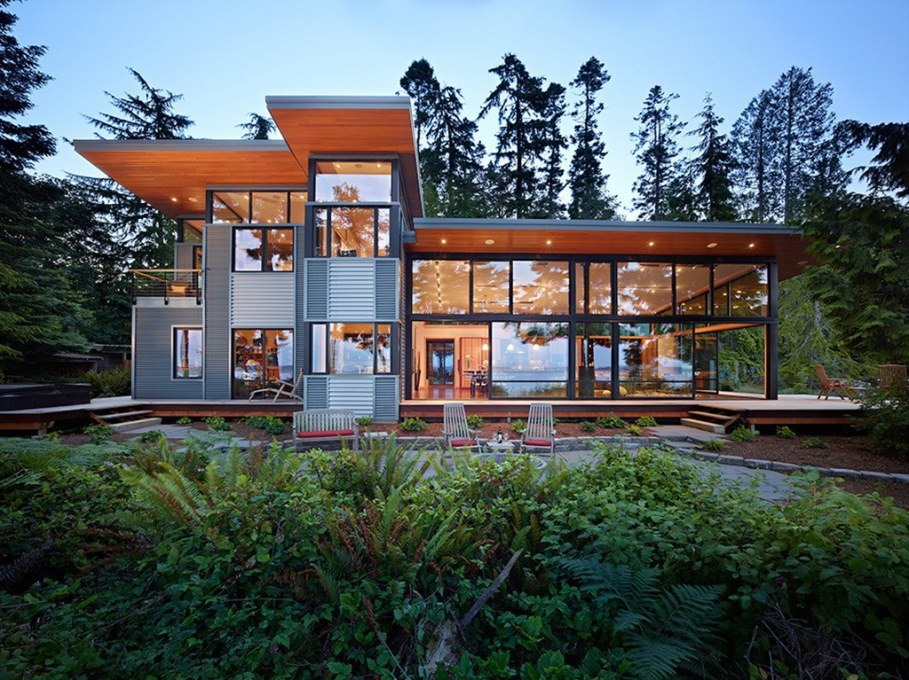 Glass Residence On The Creek Shore In Washington 1