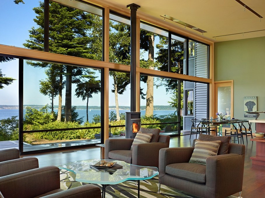 Glass Residence On The Creek Shore In Washington 2