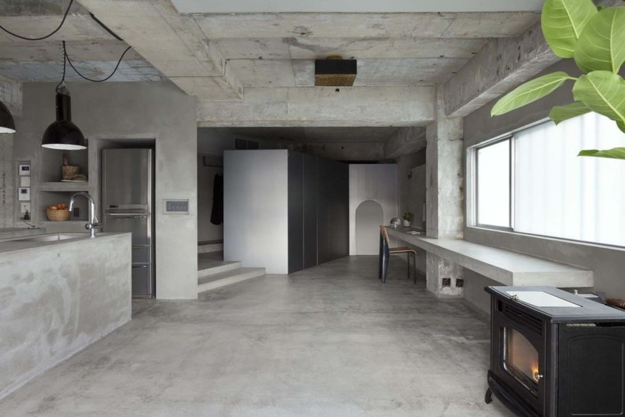 interior design a concrete apartment kitchen and dining room