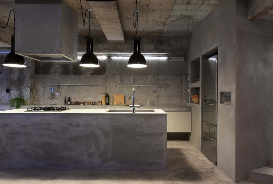 concrete kitchen island interior design a concrete apartment 2430