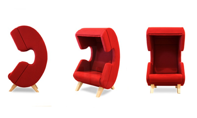 Modern furniture design - First Call chair - phone - Red