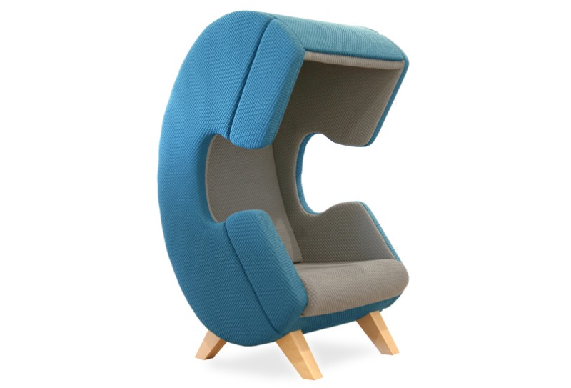 Modern furniture design - First Call chair - phone - blue and gray