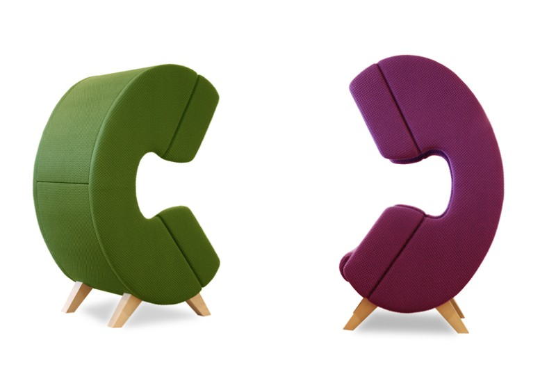 Modern furniture design - First Call chair - phone - green and violet