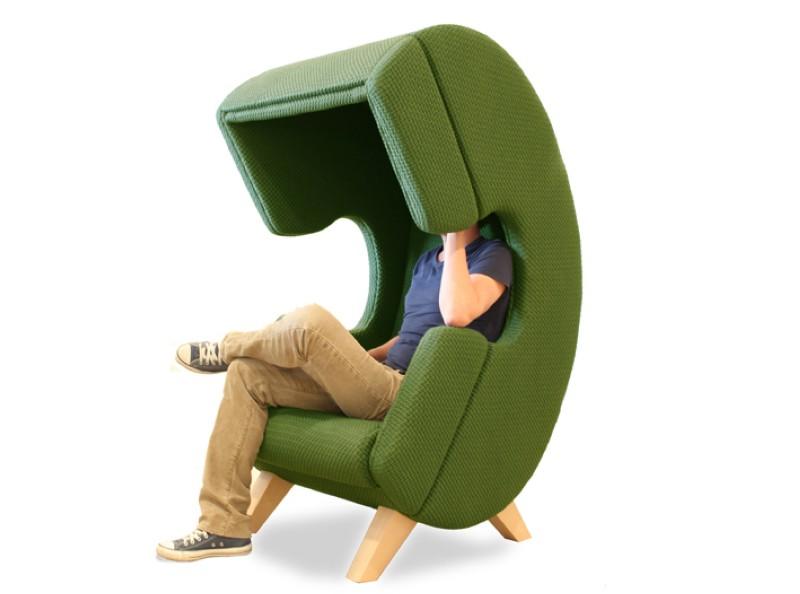 Modern furniture design - First Call chair - phone - green