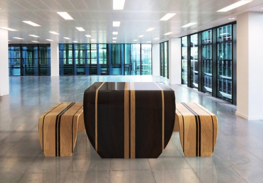 Surf-ace table and two benches