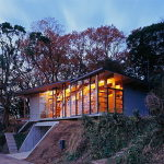 The house is on top of a ridge in Japan