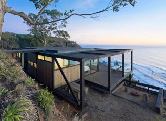The residence on the rocky coast in Chile