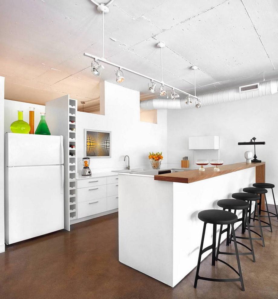 Modern Apartment In Loft Style From Stephane Chamard - Kitchen island