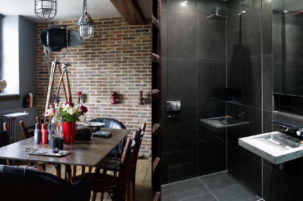 Old brick warehouse London bathroom dining room