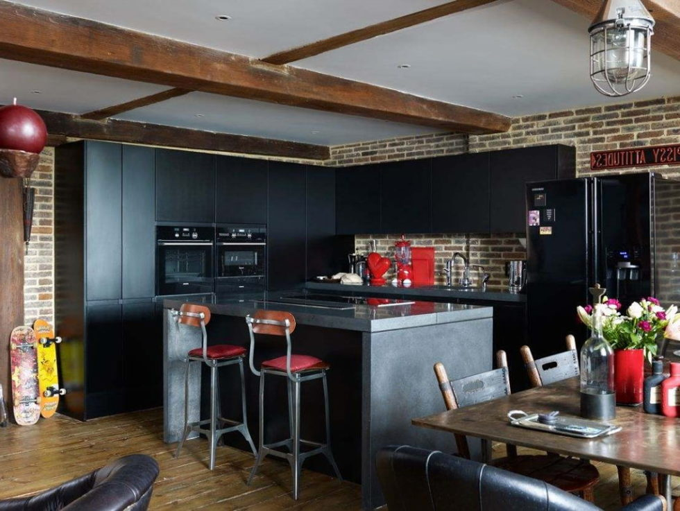 Old brick warehouse London kitchen island