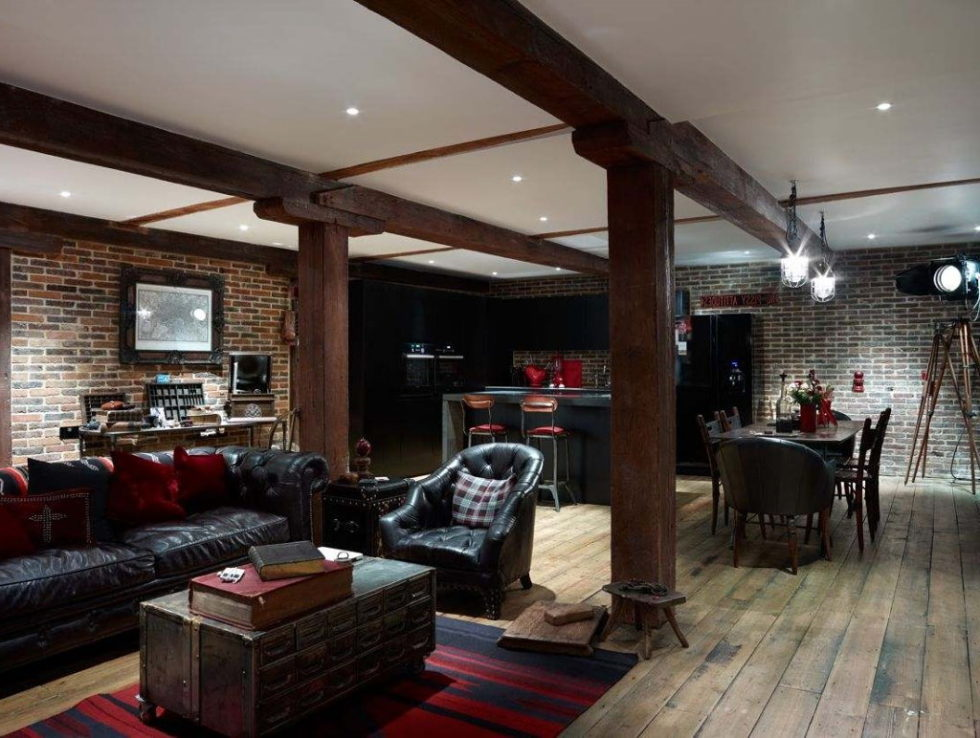 Old brick warehouse London living room 3