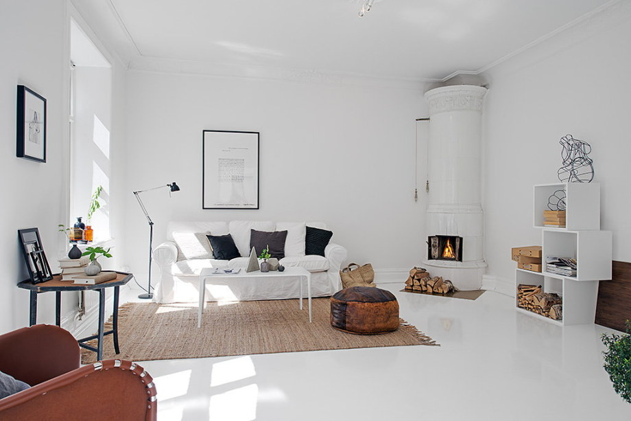 The snow-white three bedroom apartment in Sweden 1