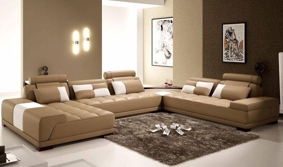 The Interior Of A Living Room In Brown Colors Features Photos Of
