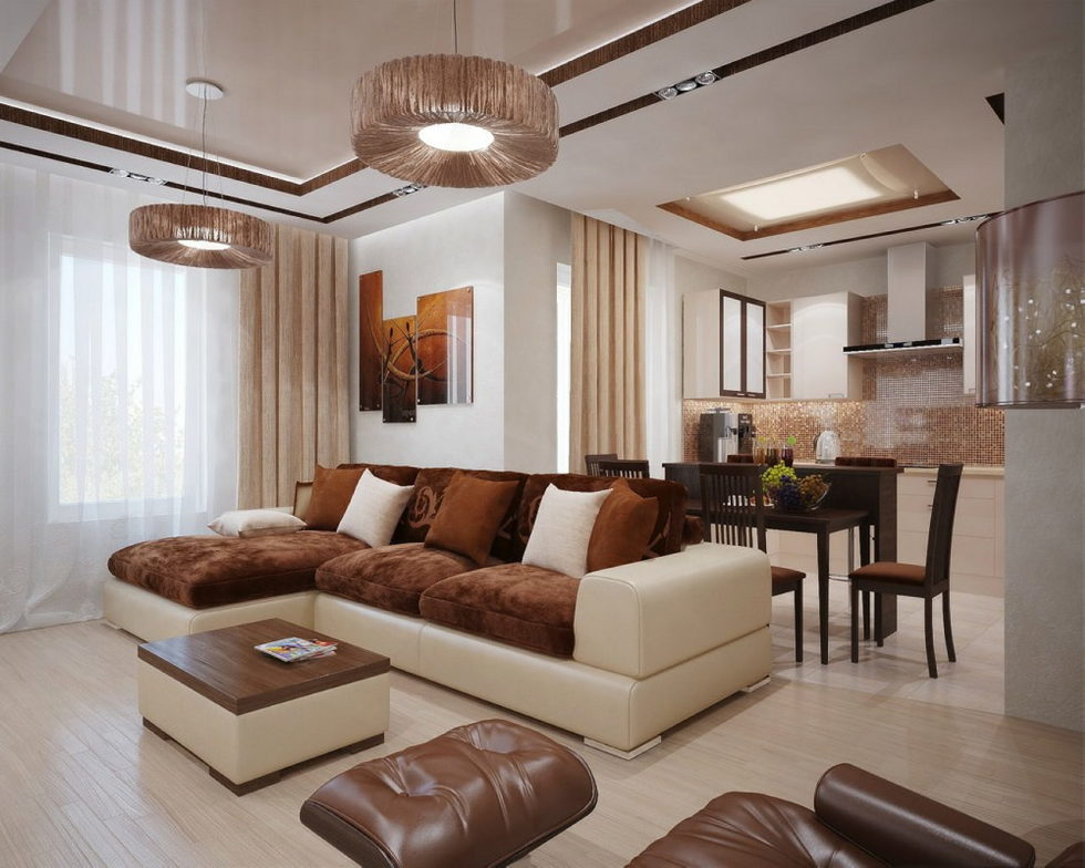 The interior of a living room in brown colors features, photos of interior examples 4