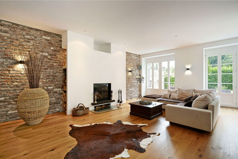 The interior of a living room in brown colors features, photos of interior examples 5