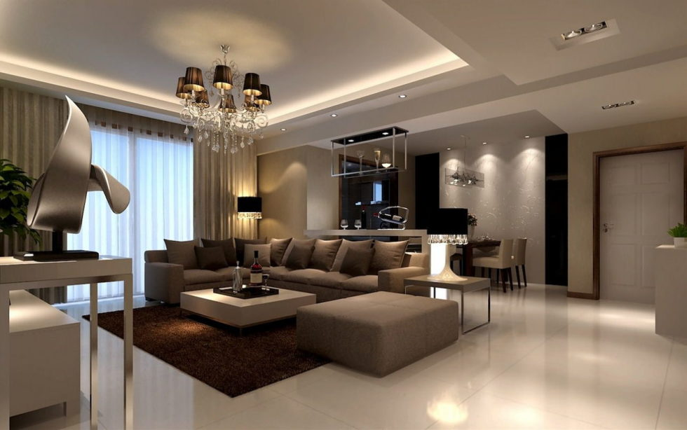 The interior of a living room in brown colors features, photos of interior examples 6
