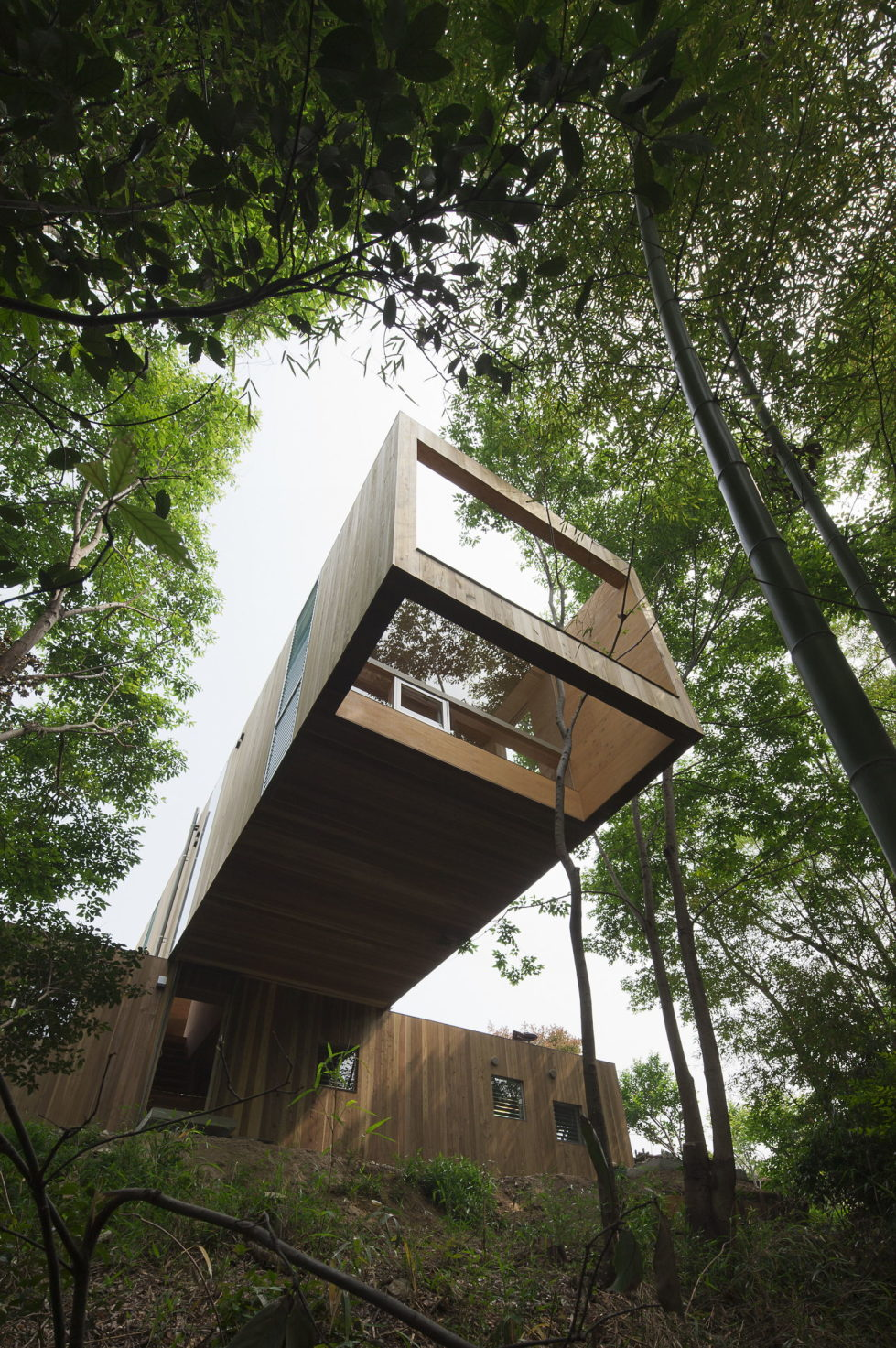 The pendulous over the forest house '+ node' from the UID Architects 4