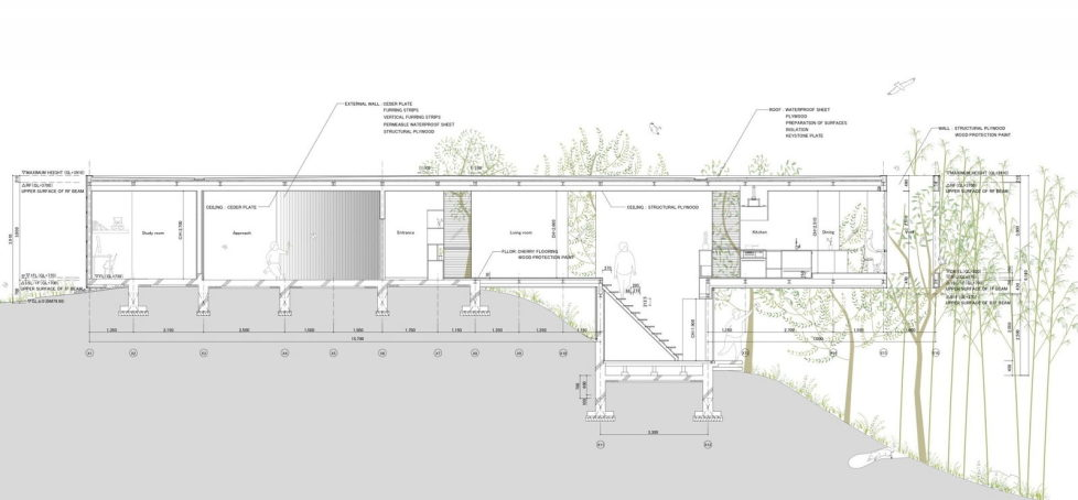 The pendulous over the forest house '+ node' from the UID Architects - Plan 3