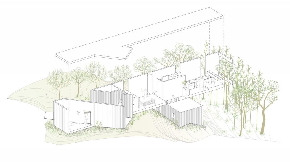The pendulous over the forest house '+ node' from the UID Architects - Plan 4