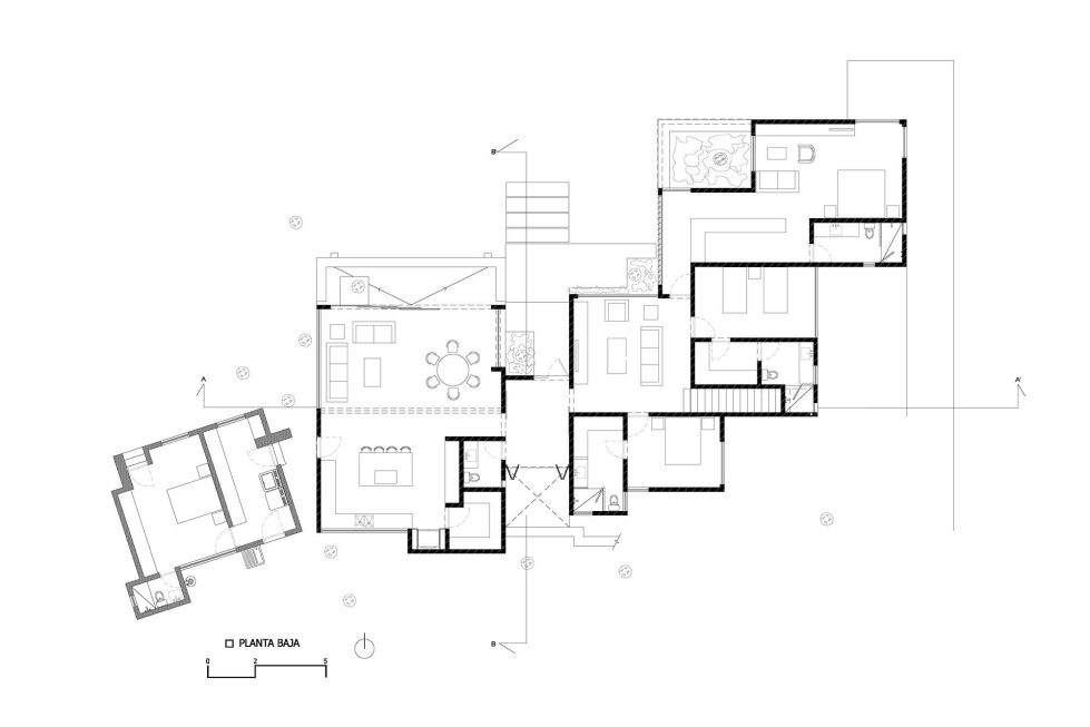 Two-Storeyed House Surounded By The Pictiresque Forest in Mexico From MO+G taller de arquitectura - Ground Floor Plan