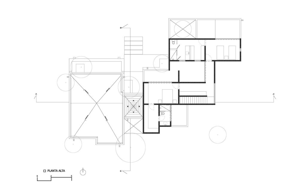 Two-Storeyed House Surounded By The Pictiresque Forest in Mexico From MO+G taller de arquitectura - Upper Floor Plan