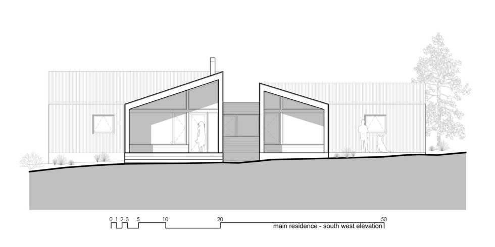 Original Project Of The House In Capitol Reef National Park From Imbue Design Bureau - Main Residence Elevation South