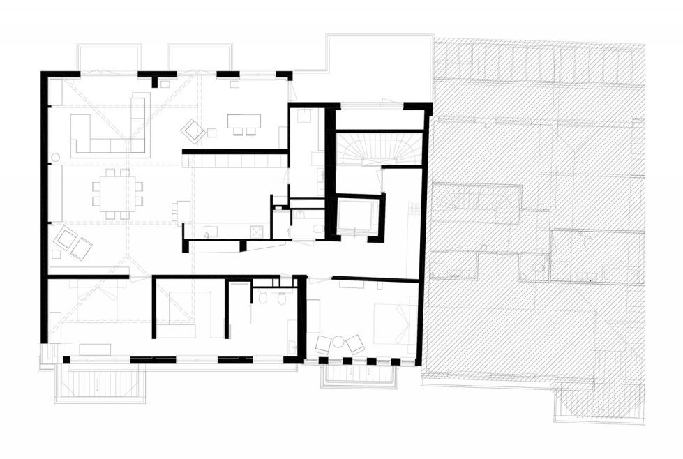 Luxury apartment Casa F in a building of former museum in Rotterdam by PENA Architecture bureau - Plan 1