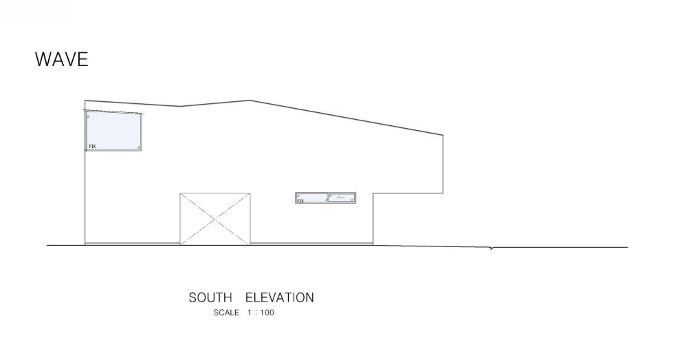 The Wave house by the APOLLO Architects & Associates studio - South Elevation Plan