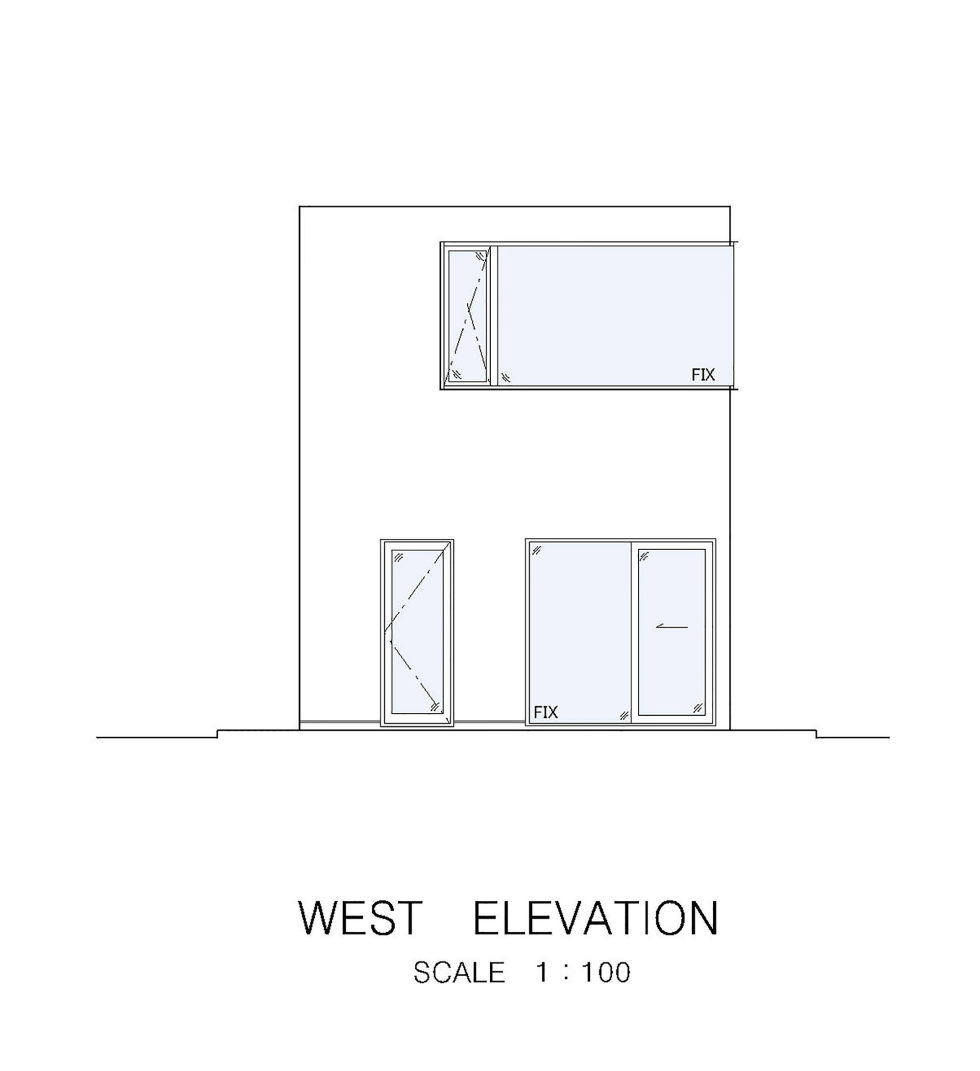 The Wave house by the APOLLO Architects & Associates studio - West Elevation Plan
