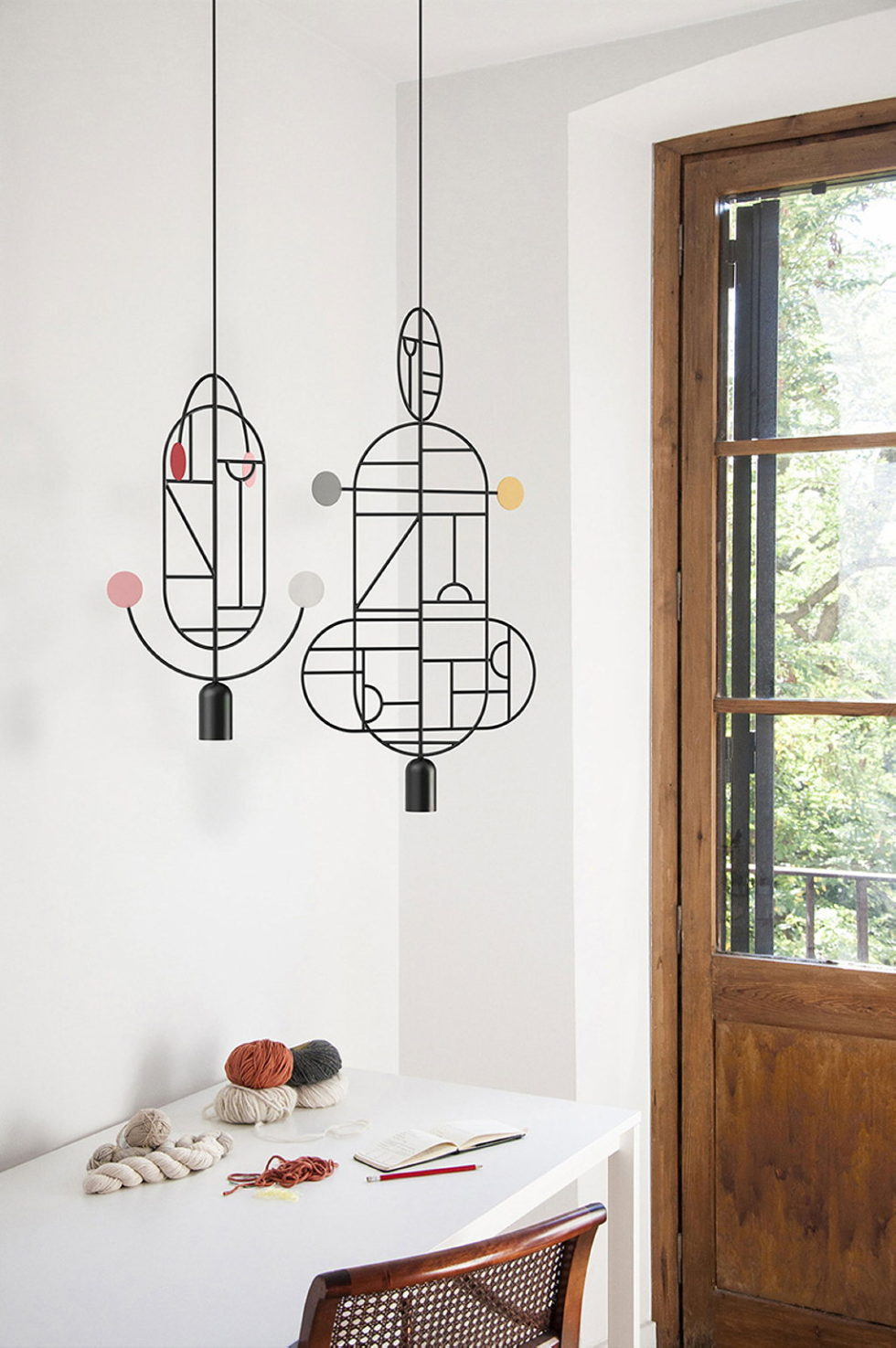 Minimalist pendant lamps Lines & Dots from Goula Figuera studio 5