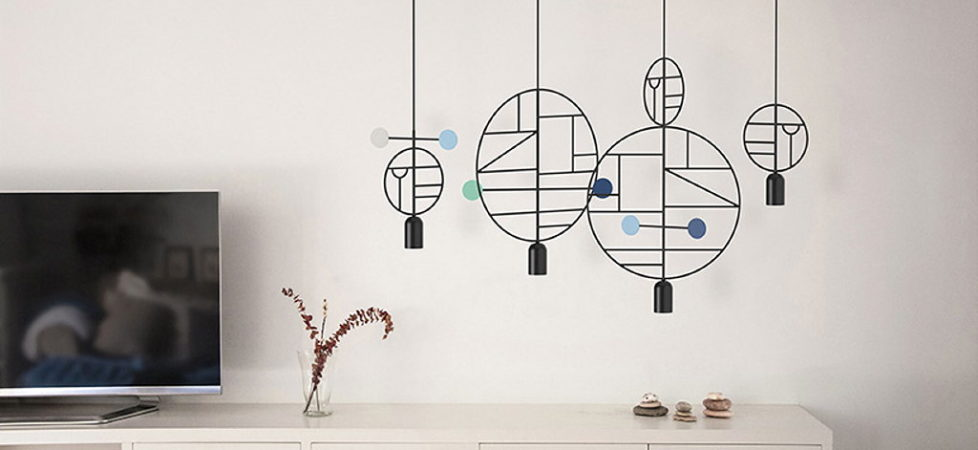 Minimalist pendant lamps Lines Dots from Goula Figuera studio
