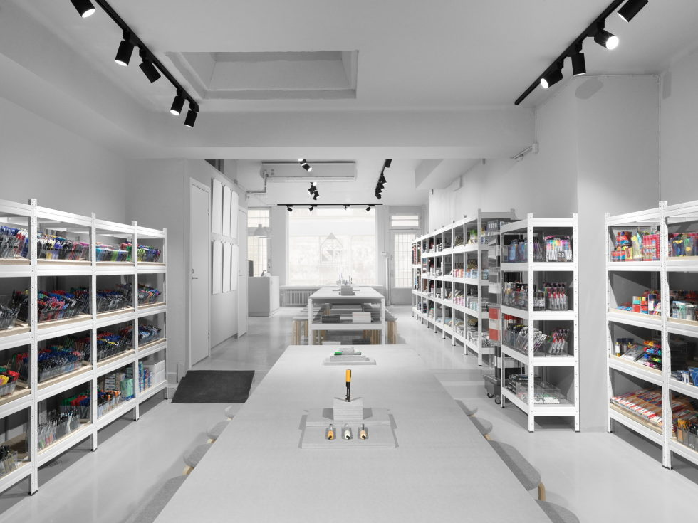 Stylish Monochromic Interior Of Colour Pencils Store 2