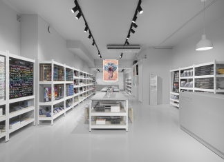 Stylish Monochromic Interior Of Colour Pencils Store